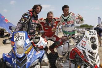 Победитель «Дакара» в классе квадроциклов Маркос Патронелли и призеры Рафал Соник и Игнасио Касале (слева направо)