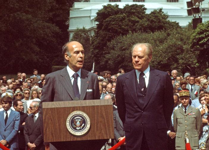 Президент Франции Жискар д'Эстен и президент США Джеральд Форд во время встречи в Вашингтоне, 1976 год