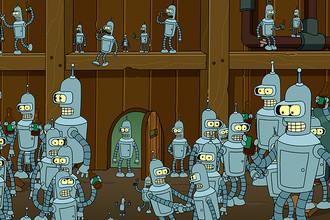 Робот-сгибальщик Бендер и его копии в эпизоде «Benderama» шестого сезона мультсериала «Futurama», 2011 год