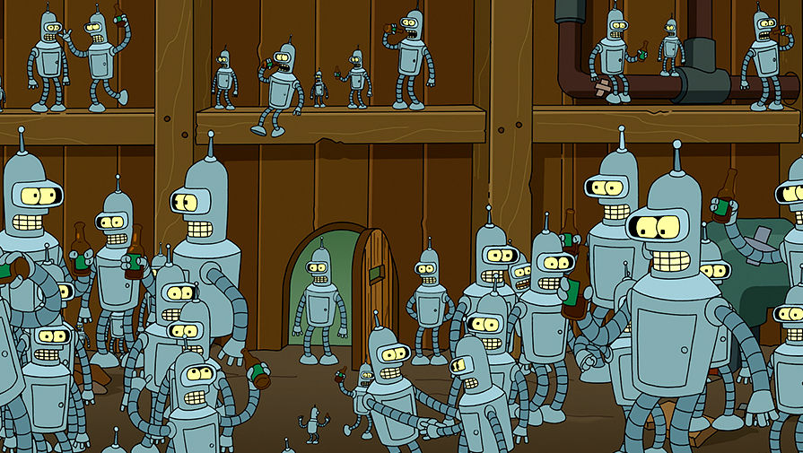 Sgibalschik robot Bender and its copies in the episode «Benderama» of the sixth season of the animated series ...