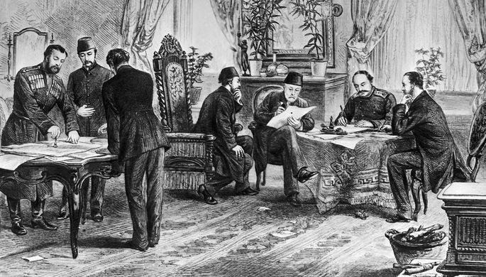 Репродукция гравюры неизвестного художника «Подписание мирного договора между Россией и Турцией в Сан-Стефано в 1878 году», фрагмент