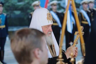 Патриарх Московский и всея Руси Кирилл на церемонии освящения закладного камня главного храма Вооруженных Сил России в парке «Патриот»