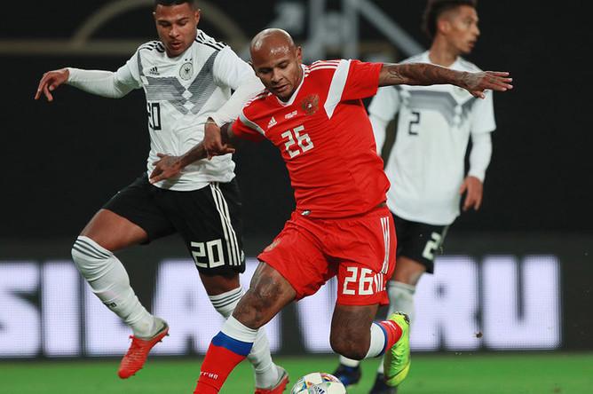 Во время товарищеского матча между сборными России и Германии в Лейпциге, 15 ноября 2018 года