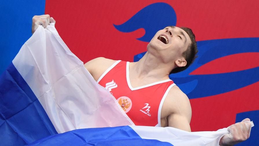 Россиянин Давид Белявский на соревнованиях по спортивной гимнастике на Европейских играх в Минске