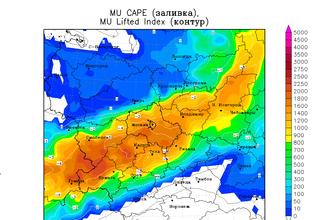 Распределение CAPE и Li на европейской территории России