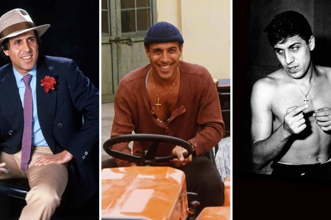 Адриано Челентано в фильме «Укрощение строптивого» (1980) (в центре), в 1980-м году и 1959-м году
