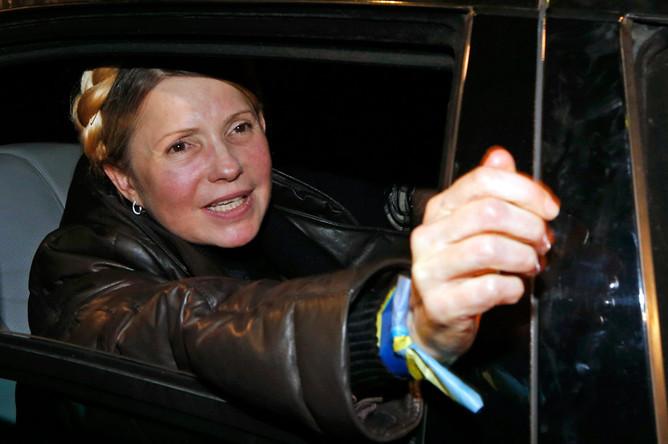 Юлия Тимошенко в аэропорту Киева
