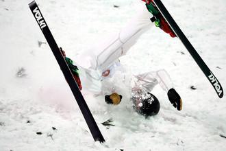 Во время соревнований во фристайлу среди мужчин на XXIII зимних Олимпийских играх в Пхенчхане, 17 февраля 2018 года