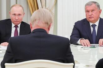 Президент России Владимир Путин и глава «Роснефти» Игорь Сечин во время встречи с гендиректором BP Робертом Дадли в Кремле, 7 февраля 2019 года
