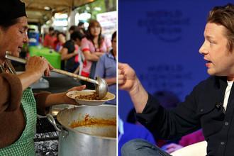 Раздача еды на празднике в Парагвае и шеф-повар Джейми Оливер на сессии ВЭФ в швейцарском Давосе, коллаж