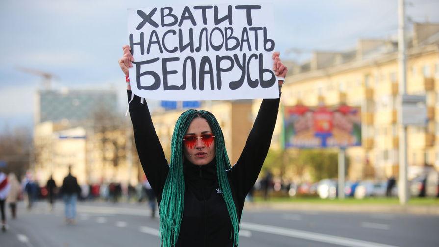 Во время акции оппозиции в Минске, 18 октября 2020 года