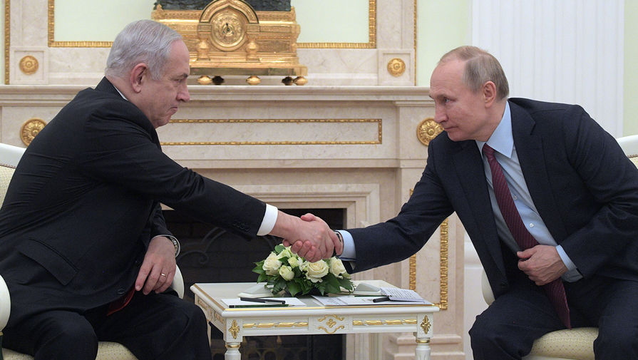 Президент России Владимир Путин и премьер-министр Израиля Биньямин Нетаньяху во время встречи в Москве, 30 января 2020 года