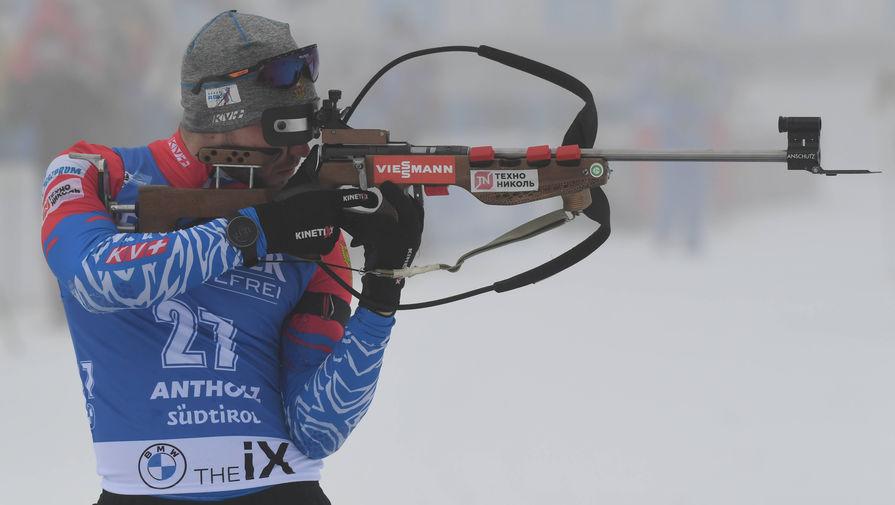 Российский биатлонист Александр Логинов на этапе Кубка мира в Антхольце