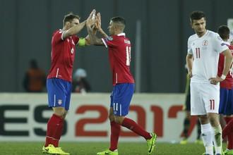 Сборная Сербии одолела команду Грузии в матче отборочного турнира к чемпионату мира по футболу — 2018