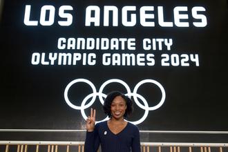 Американская бегунья Эллисон Феликс на презентации заявки Лос-Анджелеса на проведение Олимпиады-2024