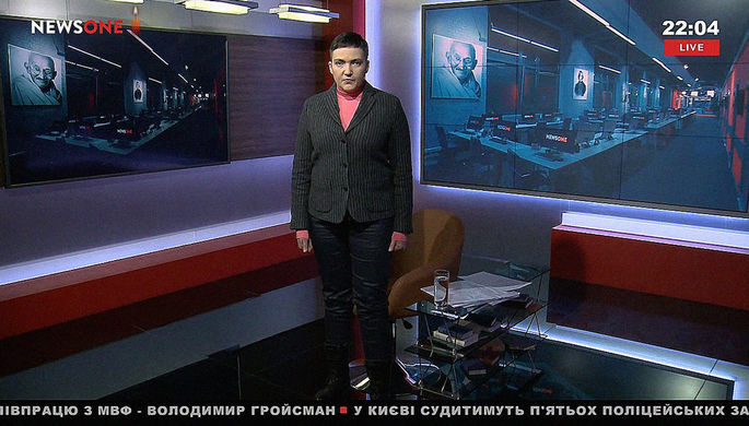 Надежда Савченко в студии телеканала NewsOne