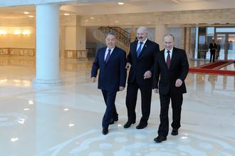 Нурсултан Назарбаев, Александр Лукашенко и Владимир Путин в Минске
