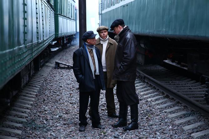 Кадр со съемок сериала «Штрафник»