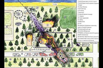 Схема места авиационного происшествия, составленная очевидцем Валерой Роговым