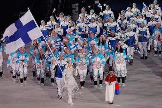 Спортсмены сборной Финляндии на церемонии открытия XXIII зимних Олимпийских игр в Пхенчхане, 9 февраля 2018 года
