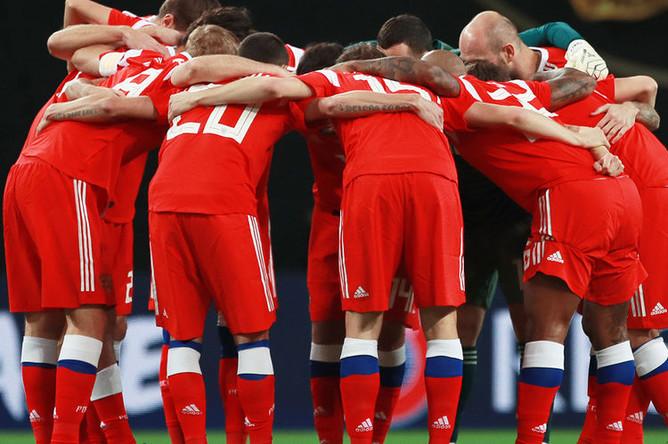 Игроки сборной России перед товарищеским матчем со сборной Германии в Лейпциге, 15 ноября 2018 года