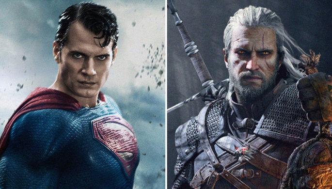 Актер Генри Кавилл в фильме «Бэтмен против Супермена: На заре справедливости (2016)» и главный герой серии игр «Ведьмак» Геральт из Ривии, коллаж «Газеты.Ru»