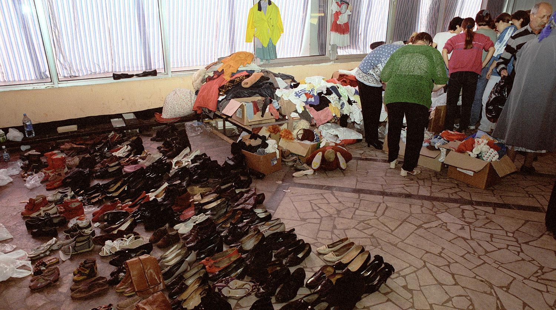 Штаб помощи пострадавшим в результате взрыва жилого дома на улице Гурьянова, 10 сентября 1999 года