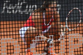 Российская теннисистка Дарья Касаткина во время парной встречи в матче плей-офф Мировой группы Кубка Федерации между сборными России и Бельгии.