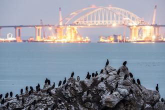 Строительство Крымского моста через Керченский пролив, 22 марта 2018 года