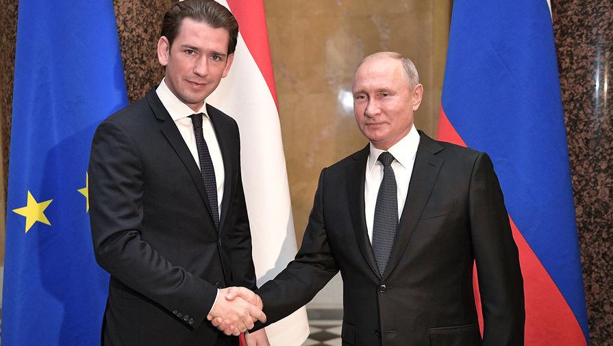 Президент России Владимир Путин и Федеральный канцлер Австрийской Республики Себастиан Курц, 2018 год