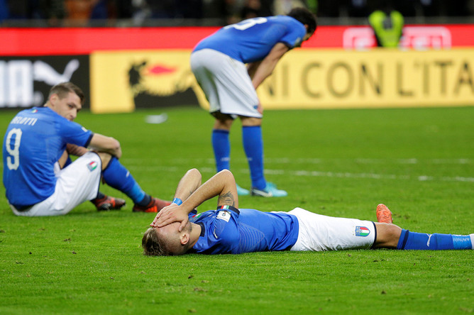 Игрок сборной Италии после проигрыша Швеции в стыковом матче, 13 ноября 2017 года