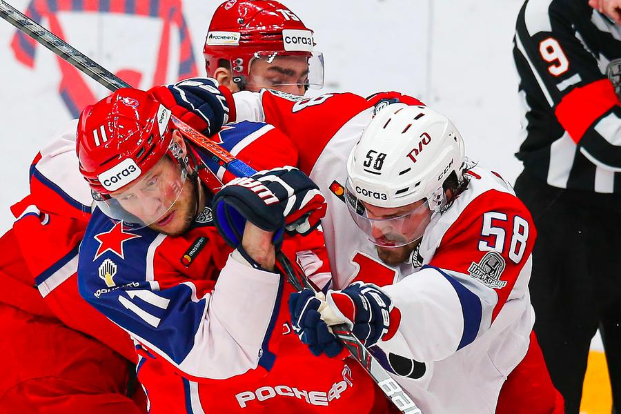Эпизод матча «Локомотив» — ЦСКА в плей-офф КХЛ