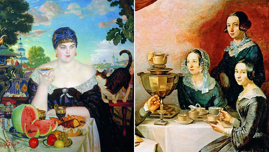 Б.М. Кустодиев. Купчиха за чаем. 1918 год / Т.Е. Мягков. Семейство за чайным столом. 1844 год...