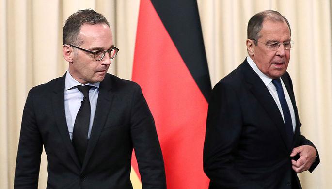 Министр иностранных дел ФРГ Хайко Маас и министр иностранных дел РФ Сергей Лавров