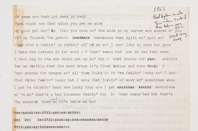 Афтограф неизвестной песни Боба Дилана