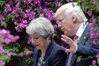 Президент США Дональд Трамп и премьер-министр Великобритании Тереза Мэй в Таормине, Италия, 26 мая 2017 года