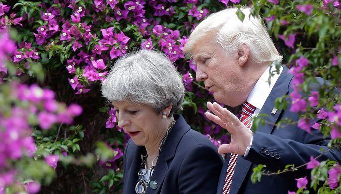 Президент США Дональд Трамп и премьер-министр Великобритании Тереза Мэй в Таормине, Италия, 26 мая...