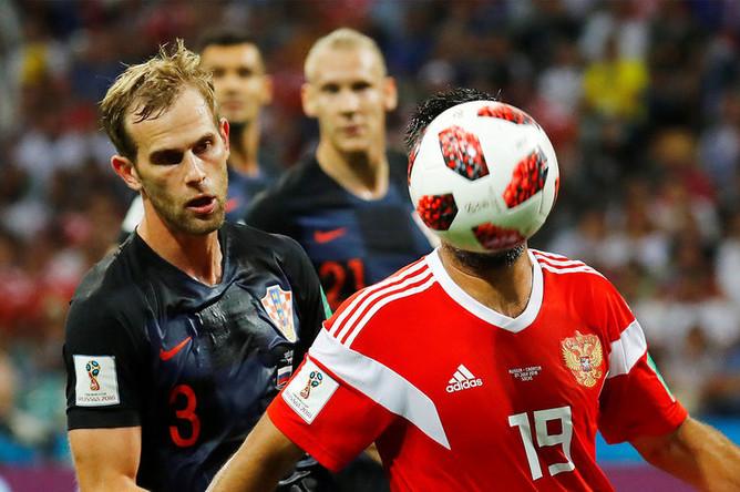 Во время матча 1/4 финала чемпионата мира по футболу между сборными России и Хорватии