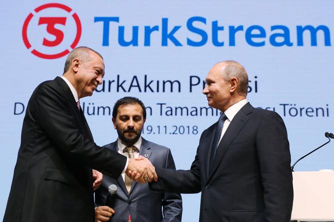 Президент России Владимир Путин и президент Турции Реджеп Тайип Эрдоган принимают участие в церемонии завершения строительства морского участка газопровода «Турецкий поток», ноябрь 2018 года