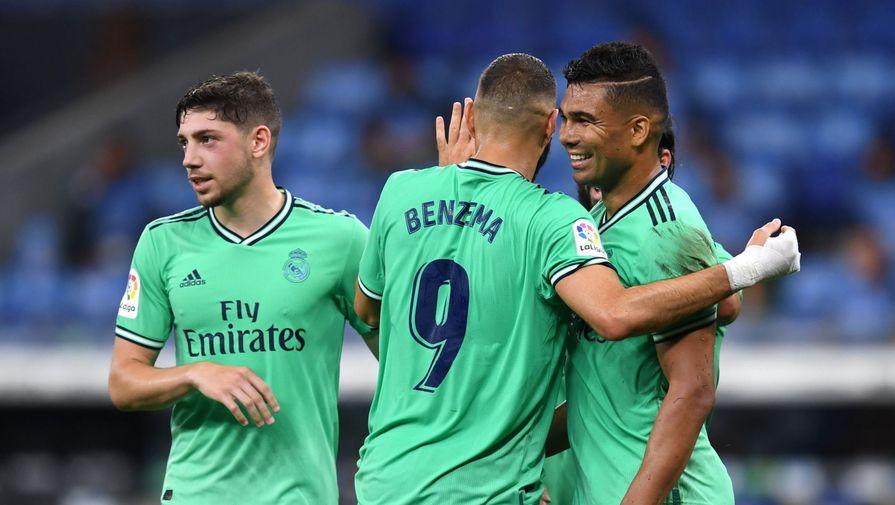 Футболисты «Реала» празднуют гол Каземиро