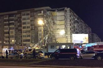 На месте обрушения части жилого 9-ти этажного дома в Ижевске, 9 ноября 2017 года