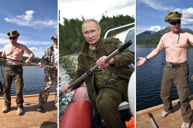 Президент России Владимир Путин во время отдыха в Туве в первых числах августа 2017 года