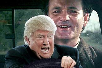 Президент США Дональд Трамп в роли сурка Фила и журналист Фил Коннорс (Билл Мюррей) в фильме «День сурка» (1993)