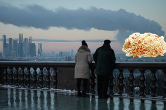 Вид на Москву со смотровой площадки МГУ и квашеная капуста, коллаж «Газеты.Ru»