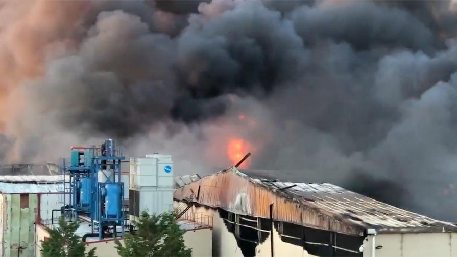 Появилось видео пожара на складах в Испании