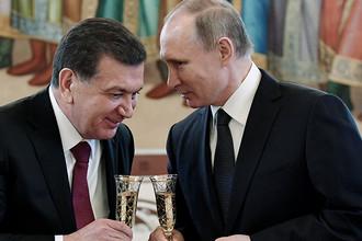 Президент Узбекистана Шавкат Мирзияев и президент России Владимир Путин