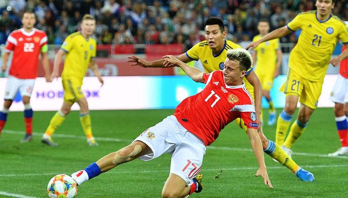 Александр Головин (Россия) в отборочном матче чемпионата Европы по футболу 2020 между сборными командами России и Казахстана, 9 сентября 2019 года