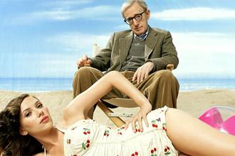 Вуди Аллен и Скарлетт Йоханссон в промосъемке к фильму «Сенсация» (2006)