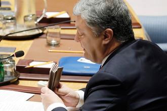 Президент Украины Петр Порошенко во время заседания Совета безопасности в штаб-квартире ООН в Нью-Йорке, 20 сентября 2017 года