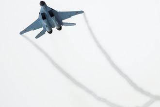 МиГ-35 во время летной демонстрации на презентации в Московской области